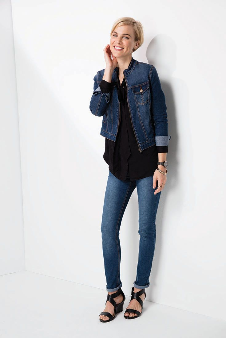 Mix it. Match it. Dressing down the pussy bow blouse with slim leg denims and a denim jacket. #denim