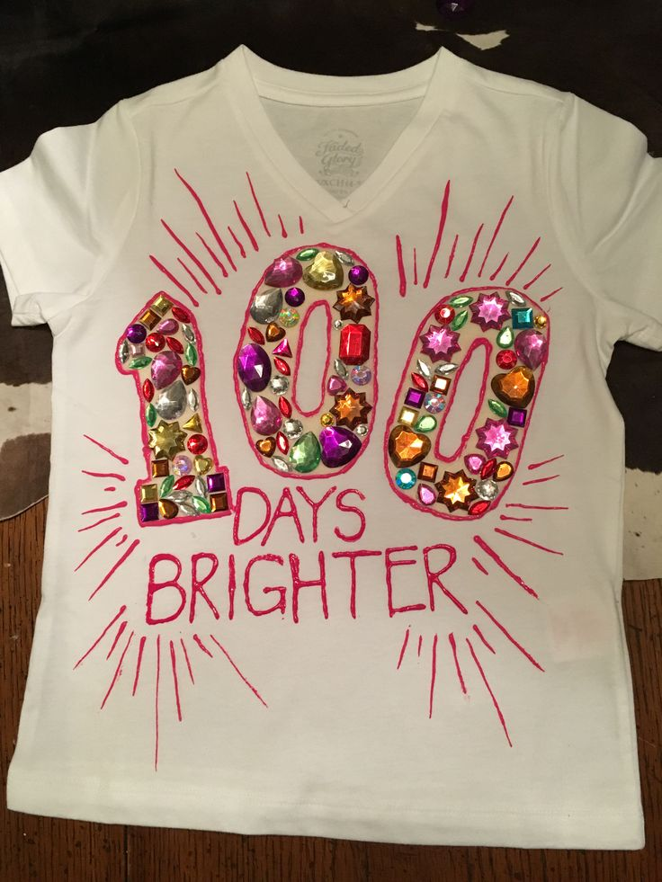 100 days of school t-shirt project for Emma's preschool.