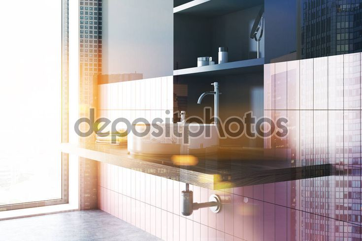 Sink In A Pink And Gray Bathroom Corner Toned Stock