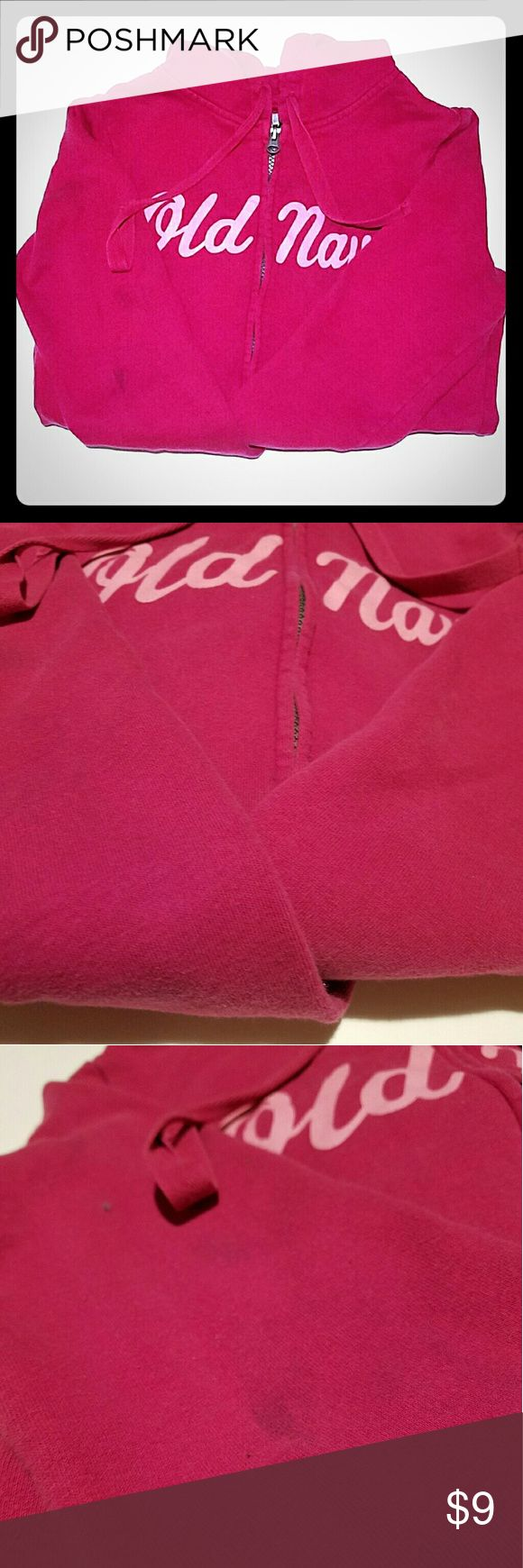 Old Navy Pink Zip Up Hoodie Pink zip up hoodie  Old Navy brand Size small   Small smudge on sleeve as shown in picture  Make me an offer! Old Navy Tops Sweatshirts & Hoodies