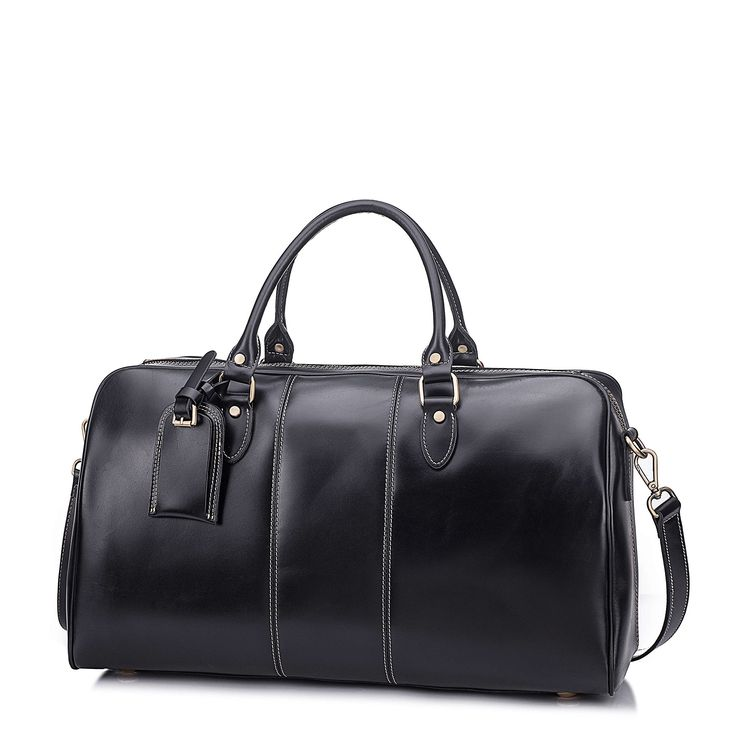 Leather Duffel Bag Travel Overnight Gym Sports Weekender Tote Bags Black