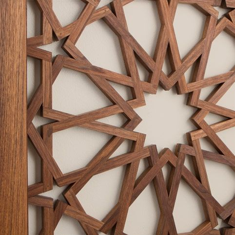 elegant door panels, this ornate twelve-point pattern can be found on Moorish wall treatments in palaces throughout North beautiful American black walnut, this modern interpretation has been hand-crafted by Alan Adams. In a technique he developed, the individual wood pieces were carefully cut and assembled to resemble a woven pattern, typical of Islamic geometric design. Once carefully assembled, Al Shams was hand finished with natural oils and then sealed with beeswax.