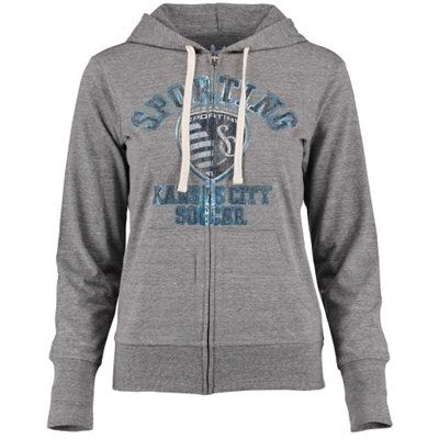 Women's Sporting Kansas City Touch by Alyssa Milano Heather Gray Training Camp Tri-Blend Hoodie