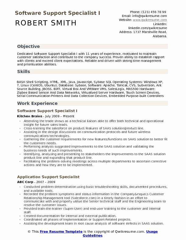 It Support Specialist Resume Luxury Software Support Specialist Resume Samples It Support Specialist Computer Support Internship Resume