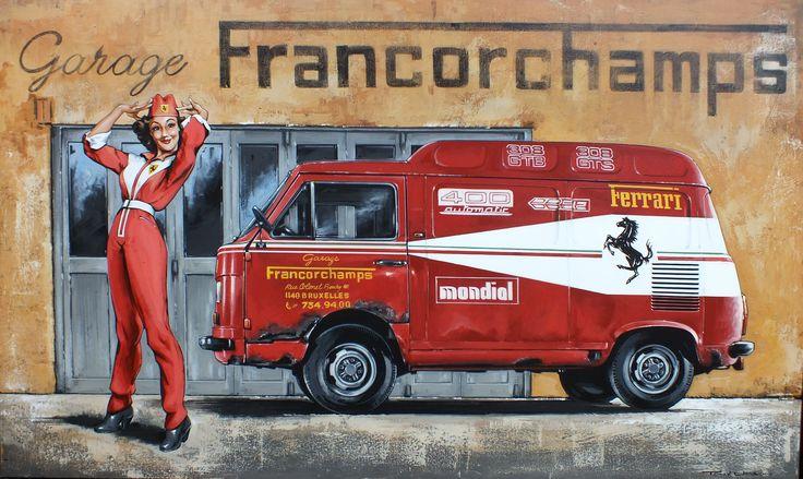 Acrylic on canvas ferrari service reklame commercials pinterest ferrari cars et - Garage volkswagen le mans ...