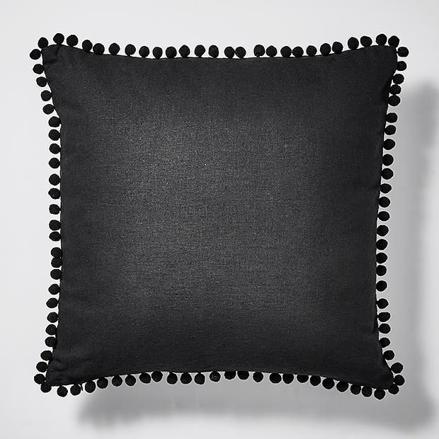 Linen Look Pom Pom Cushion Black - 45cm