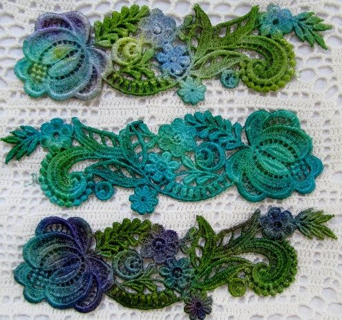Peacock Blue Flower Spray Hand Dyed Venise Lace by RavioleeDreams, $6.00