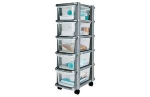 Plastic Set Of Drawers Grey Slim Wheeled 5 Drawer Cart