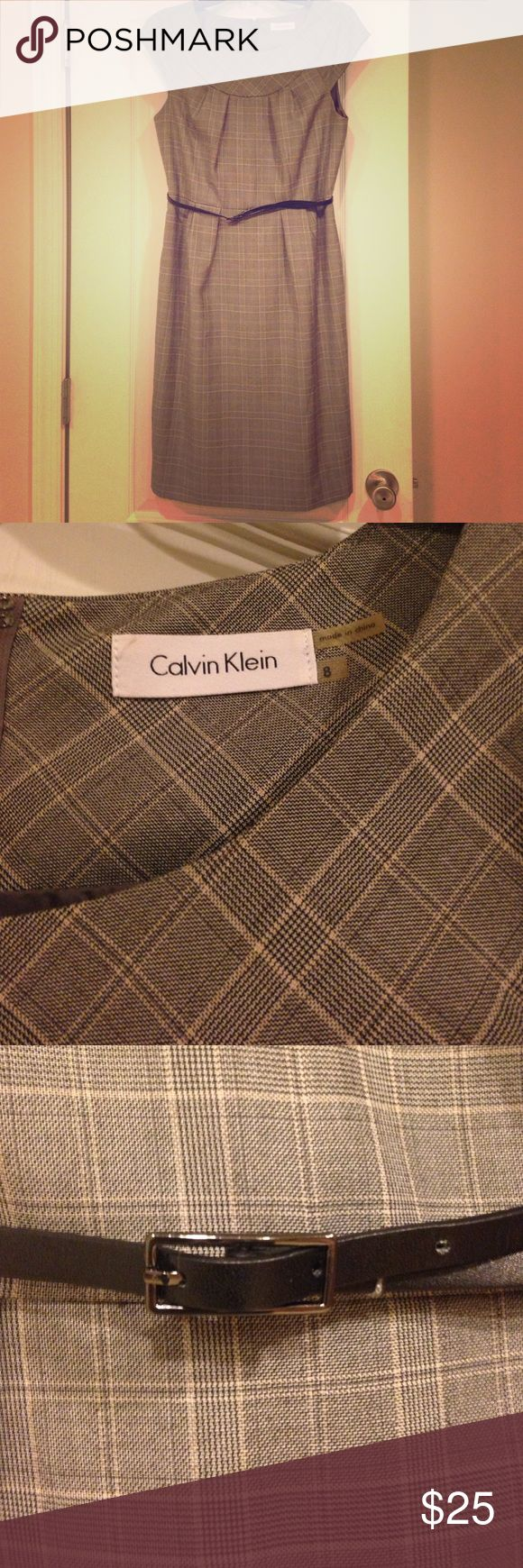 Classy Calvin Klein Professional Dress Stunning Business Professional Calvin Klein Women's Dress. Would be perfect for an interview or job! Knee- length. Comes with belt. EUC other than small wear to belt- dress is perfect! Size 8. Check out my other listings for bundle deals! Calvin Klein Dresses