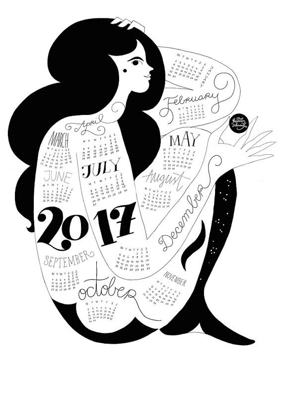Back for 2017 due to popular demand!  Hand–pulled one colour screenprint. This calendar is printed on archival quality Heritage paper with archival quality super black ink.  The calendar is A2 (594 x 420 mm/ 23.4 x 16.5 in) and will ship in a sturdy cardboard tube.  Please check my shipping policies for estimated delivery times. If you are buying this as a Christmas present and are based in the US and it is later than December 1st I would recommend you go for the shipping upgrade (availa...