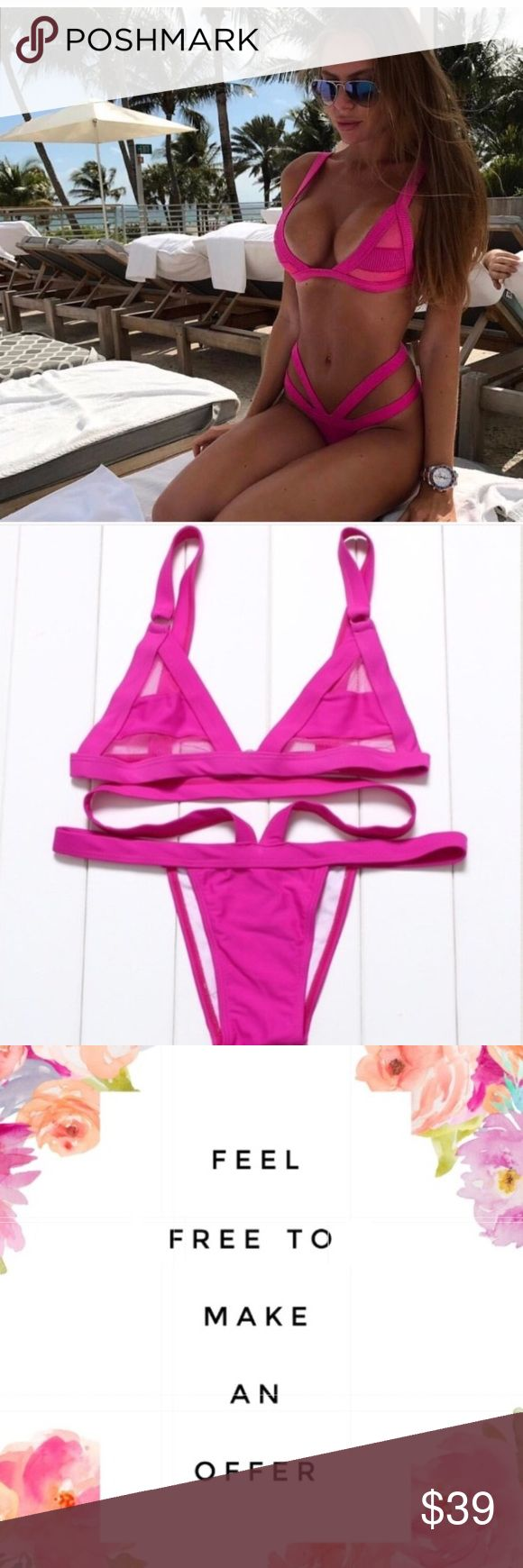 """Hot Pink Cut Out Mesh Bikini ⭐️Brand new super hot bikini  🌟Features: Mesh Panel Top, Cheeky Bottoms  💫Size Medium, runs small.  Made to fit size 6-8 Bust 34-36"""" Cup sizes B-C Waist 26-28""""  Hips 36-38""""   ✅Bundle 3 items for 15% discount  ⭐️⭐️⭐️⭐️⭐️Rating ⛔️Trades ✈️Ships same day if ordered by 10:00 PST Swim Bikinis"""