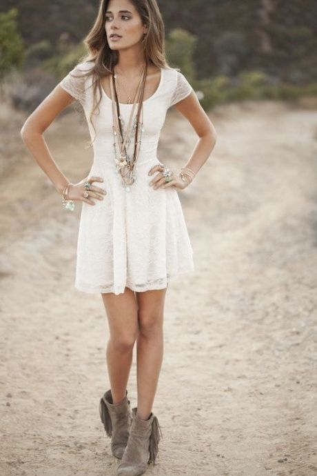 pretty white dress, long necklaces, and fringe booties are so cute for a summer festival!