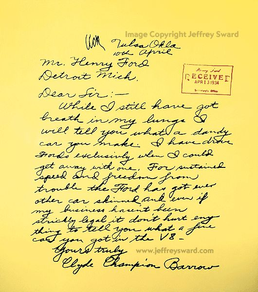 Bonnie and Clyde Artifacts | clyde barrow to henry ford click here to view other bonnie and clyde ...