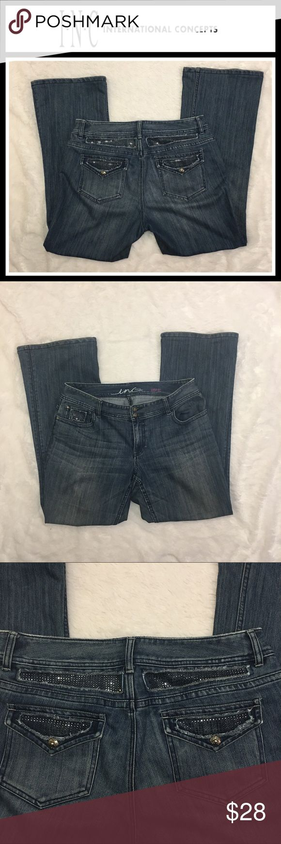 """Macy's INC curvy fit bootleg jeans with bling EUC, size 12 - these jeans are made for women with curves! Super cute bling on the pockets - inseam 31"""" INC International Concepts Jeans Boot Cut"""