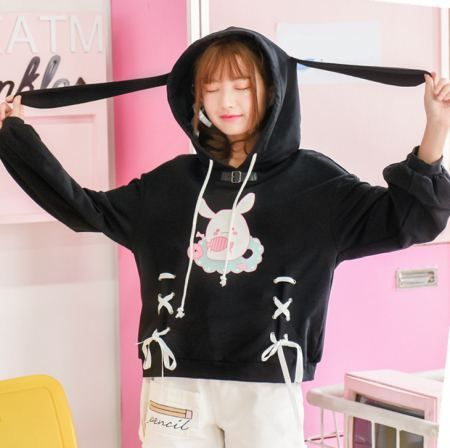 Black rabbit cosplay hoodie with ears lace up front tops for girls