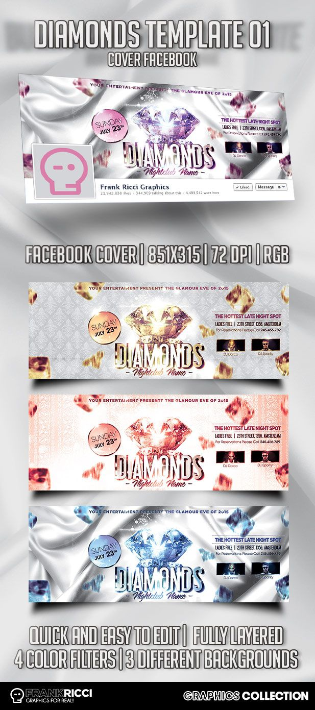 Cover Facebook Diamonds 01 Template - Available on http://frankricci.it/diamonds-cover-01/