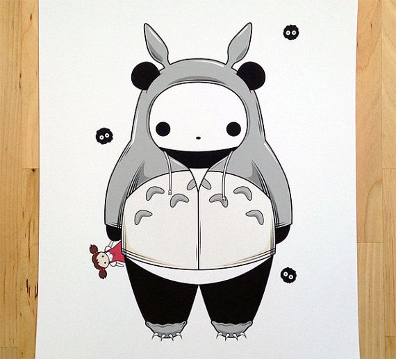 8 x 10 Totoro Panda Art Print by deedeetantan on Etsy.
