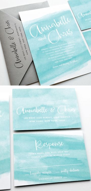 NEW Annabelle Modern Calligraphy Aqua Watercolor Beach Wedding Invitation