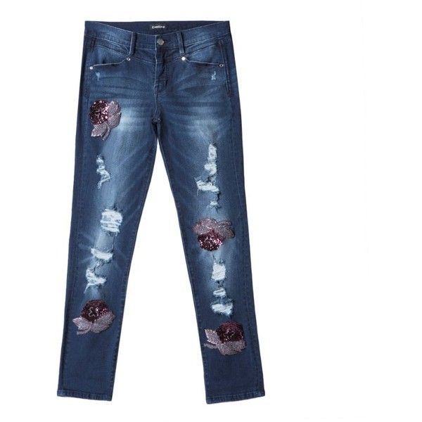 bebe Azurite Embellished Jeans ($149) ❤ liked on Polyvore featuring jeans, embellish jeans, bebe jeans, white jeans and bebe