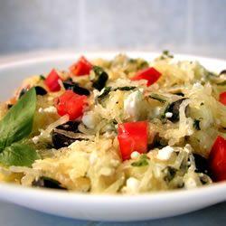 Spaghetti Squash... minus the feta and olives, add zucchini, squash, mushrooms instead