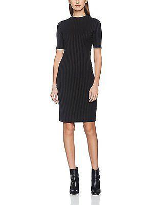 12, Black (Black), Dorothy Perkins Women's Rib Bodycon Dress NEW