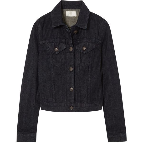 The Row The Row - Rearman Cropped Denim Jacket - Dark denim (€1.030) ❤ liked on Polyvore featuring dark denim