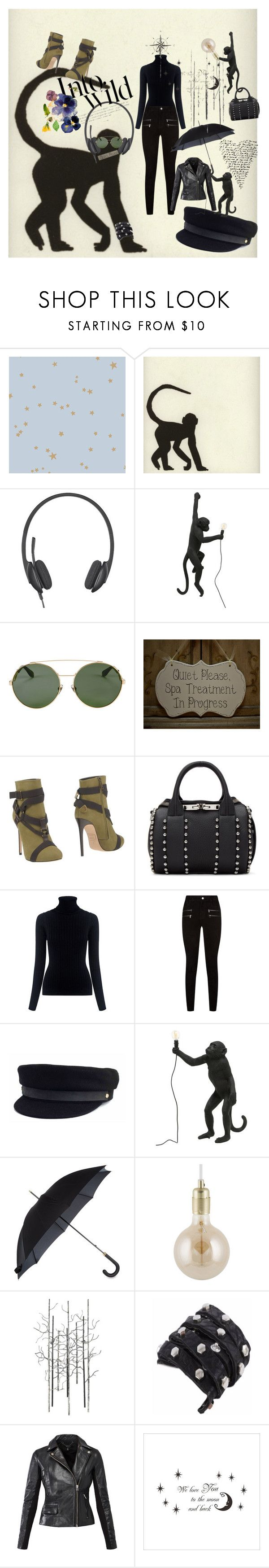 """See no evil, hear no evil"" by polka-phase ❤ liked on Polyvore featuring Cole & Son, Logitech, Seletti, Givenchy, Dsquared2, Alexander Wang, M.i.h Jeans, Paige Denim, Janessa Leone and Fulton"