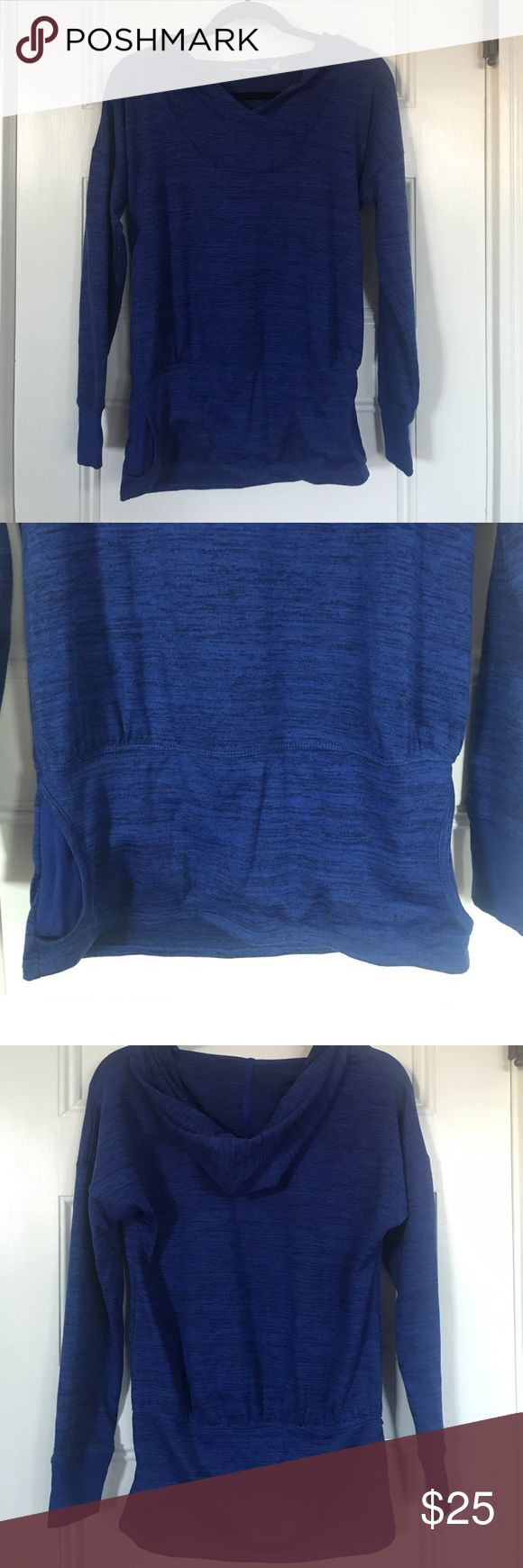 Athleta Batwing Hoodie in Blue Batwing hoodie from Athleta. Has think low waist band that covers your bum. Has pockets. Athleta Tops Sweatshirts & Hoodies