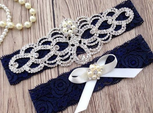 Navy Blue Garter  Wedding Garter  Navy Lace by ThePerleBridal