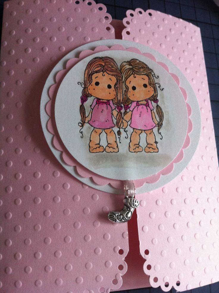 Christening invitation - baby girls (twins)