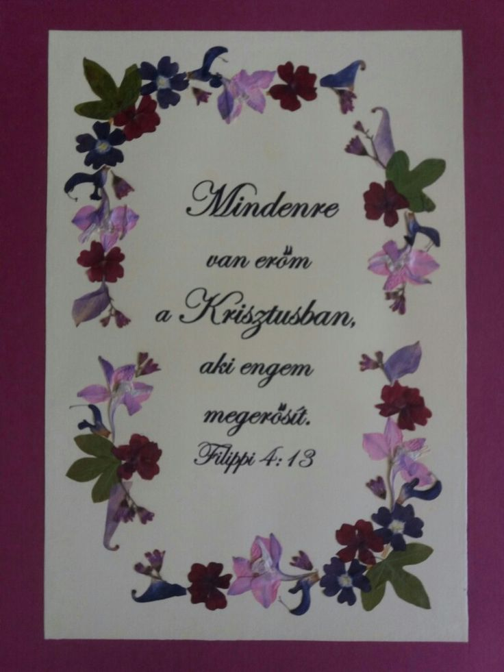 Pressed flower picture with Bible verses. Custom order in Hungarian language