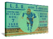 1959 LSU VS. TENNESSEE football ticket canvas art.  The best Tennessee football gifts! #gifts