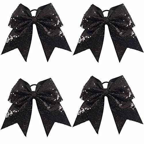 CN Sequin Cheer Bow Big School Color Hair Bow With Elastic Tie For Cheerleading Girls *** Continue to the product at the image link.