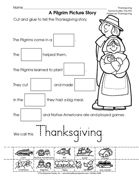Thanksgiving worksheet: reading informational text A Pilgrim Picture Story