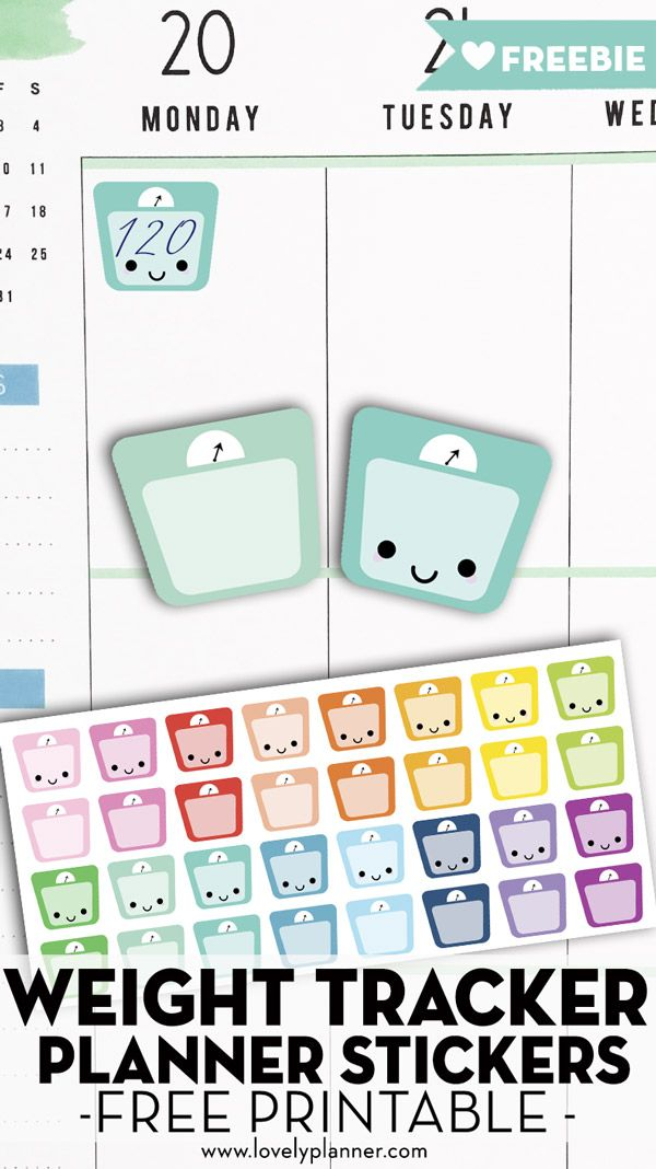 Free Printable Weight Scale Planner Stickers