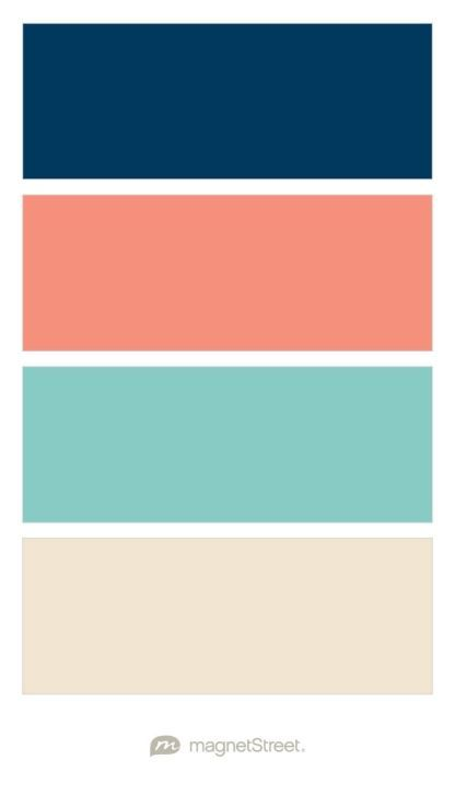 Navy, Coral, Custom Teal, and Champagne Wedding Color Palette - custom color palette created at http://MagnetStreet.com