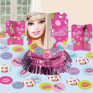 A289584 - Barbie Table Decorating Kit Table Decorating Kit Barbie (Contains 1 x 31cm Centrepiece, 2 x 18cm Centrepieces and 20 x 5cm Confetti Pieces)  Please note: approx. 14 day delivery time.