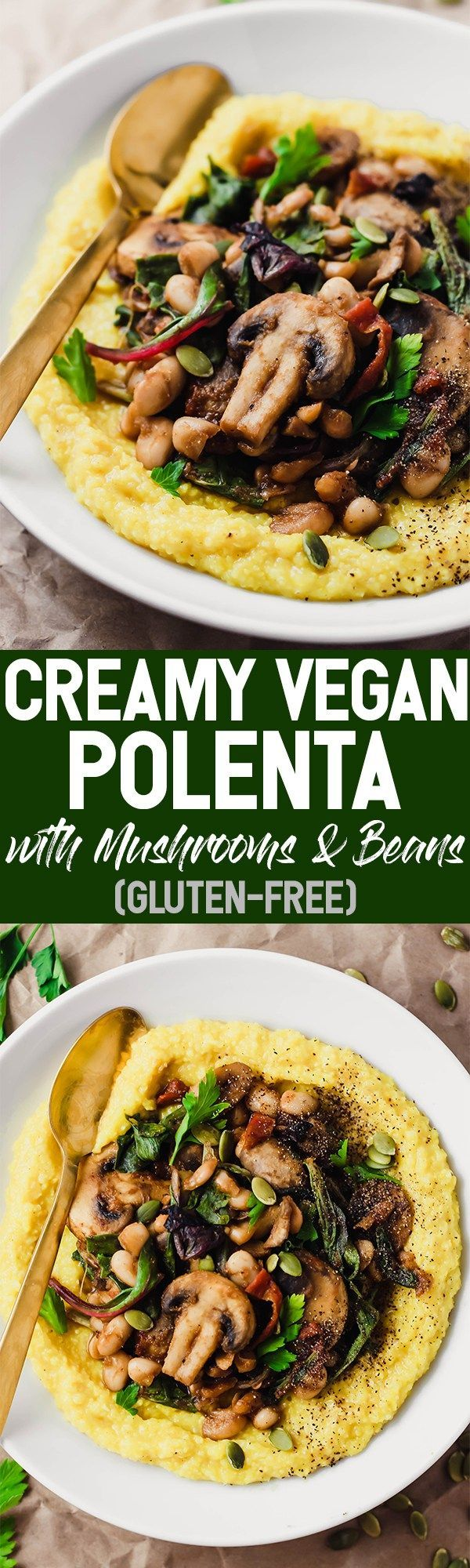 This Creamy Vegan Polenta with Mushrooms and Beans is an easy 30-minute dinner packed with whole grains, plant protein, and vegetables. Leftovers make great lunches! @Pompeian #TrendingInTheKitchen #sponsor