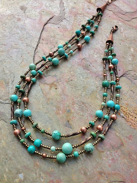 Turquoise Necklace / Turquoise Jewelry / Multi Strand Necklace / Boho…