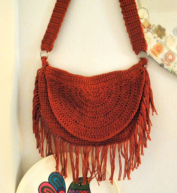 Bohemian Hippie Fringe Crochet Bag Purse Handmade Cotton Large Orange