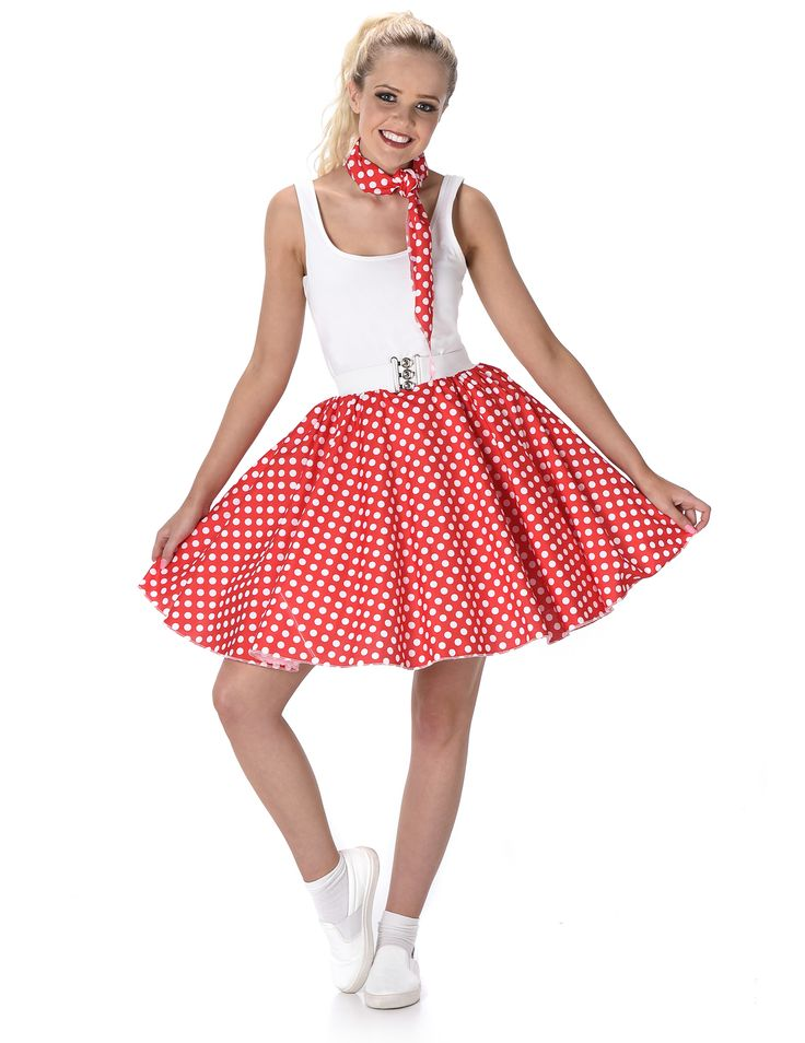 Disfraz años 50 rojo con puntos mujer: Este disfraz años 50 para mujer incluye falda con cinturón y pañuelo (camiseta, calcetines y zapatos no incluidos).La falda es bombacha de tejido rojo con puntos blancos. Mide...