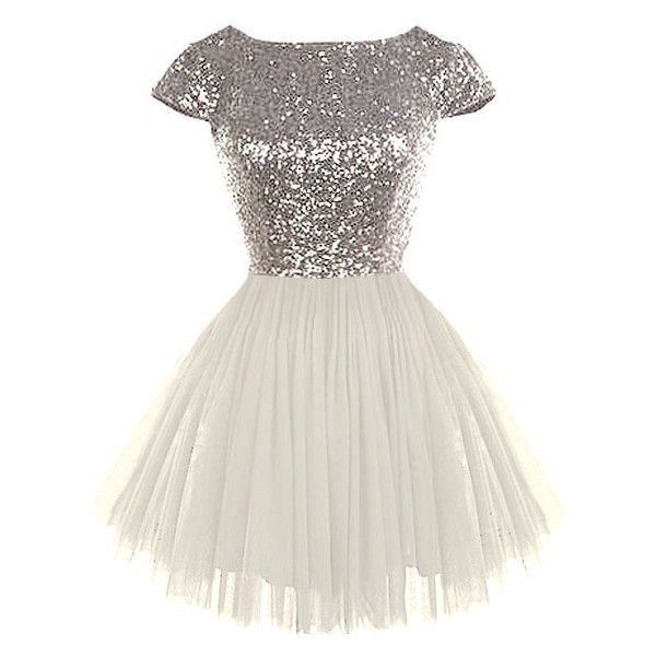 Features a sparkling silver sequin bodice framed by angelic cap sleeves, graceful V-design to the rear crowning a hidden zip closure, and a ballerina-inspired …
