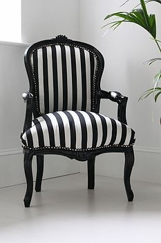 Might do black and white stripe fabric for my French armchair.