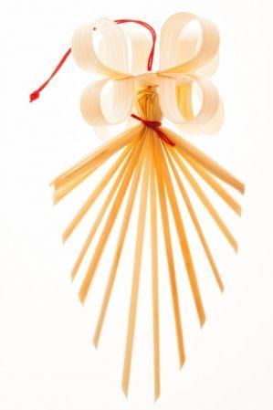 Tradycyjne, słomiane ozdoby choinkowe - ręcznie robiona kokardka z promykami