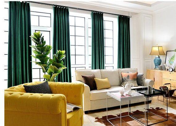 Paar Smaragd Grun Samt Vorhange Schlafzimmer Samt Vorhange