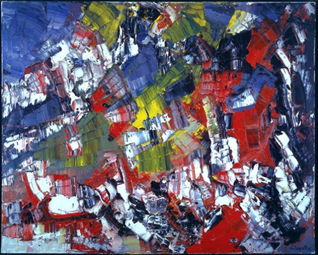 "JEAN PAUL RIOPELLE  ""Le Joyeux Vélo"" 1956   oil on fabric. Follow the biggest painting board on Pinterest: www.pinterest.com/atelierbeauvoir"