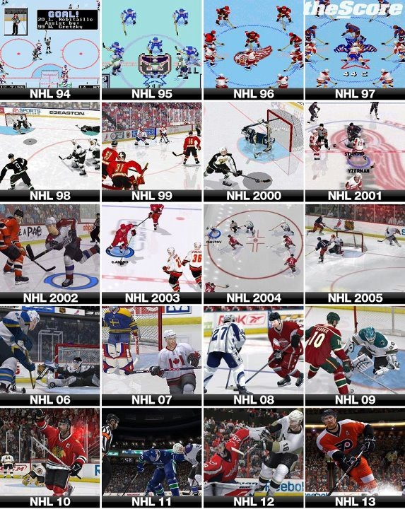 Evolution of EA NHL graphics over the years. I've owned 12 of these.
