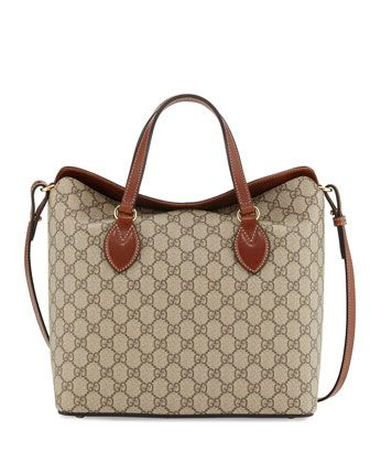GG+Supreme+Tote+Bag,+Beige/Ebony/Cuir+by+Gucci+at+Neiman+Marcus.