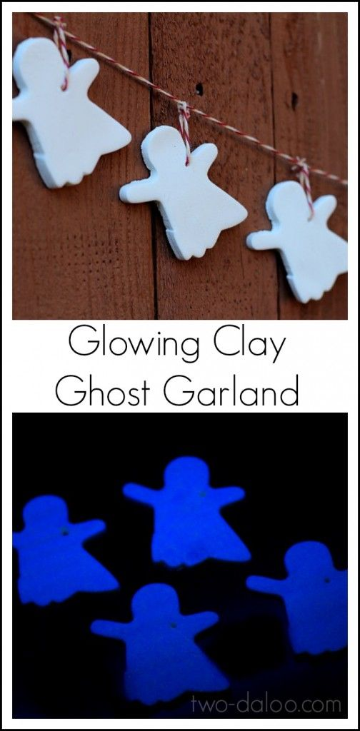 Make a fun Halloween decoration using glowing baking soda clay to make ghost ornaments! Makes a spooky glowing ghost garland.