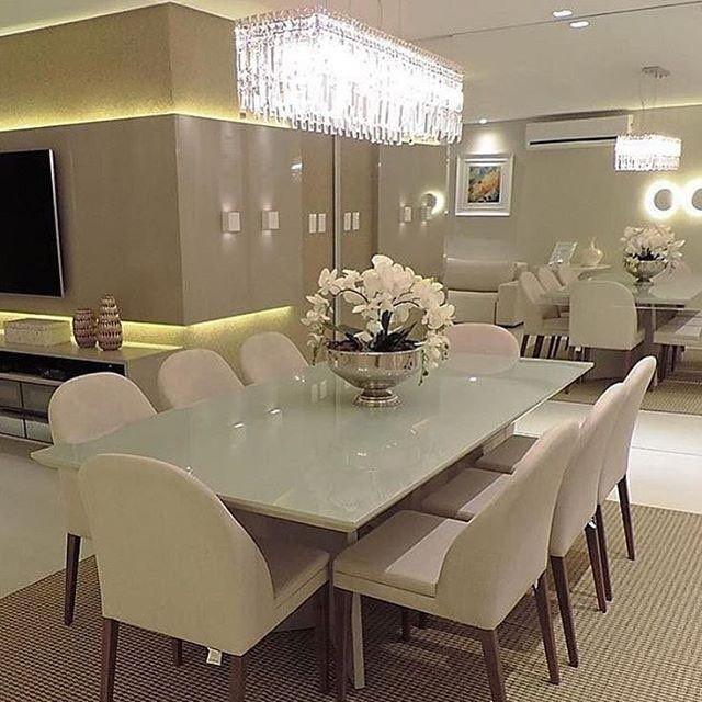 @_decor4home Sala de jantar em tons neutros by Luanna Gaspar Arquitetura